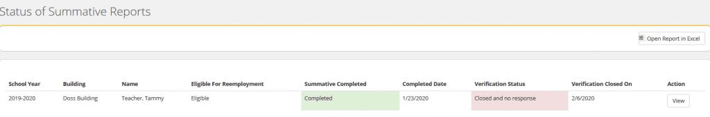 NEE Summative Status Report screengrab