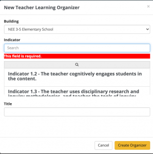 Creating a Learning Organizer NEE Data Tool