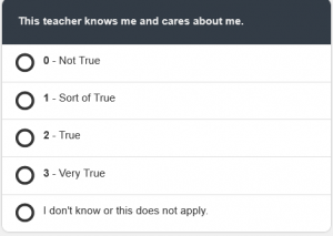 "NEE student survey example question with Likert scale responses: This teacher knows me and cares about me on a scale from ""Not True"" to ""Very True"""