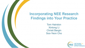 Thumbnail from title slide of NEE Research Webinar