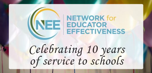 Photo of balloons with text NEE celebrates 10 years of service